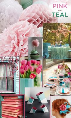 Pink and teal -  inspiration board