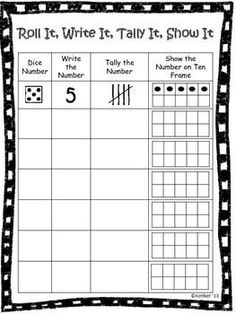 Free Roll, Write, Tally and Show can be used during center time or in small group. This activity helps students to recognize numbers on a dice as well as different ways to represent the number. Helps students to improve number sense of numbers 1-6.
