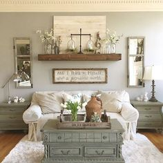 Cozy Living Rooms, Living Room Kitchen, Kitchen Decor, Living Room Wall Decor Ideas Above Couch, Living Room Walls, Rustic Living Room Decor, Rustic Decor, Living Room Wall Shelves, Living Room Decorations