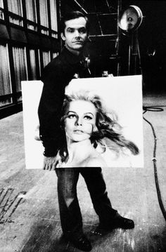 """hollywood-portraits:  """" Jack Nicholson holding a portrait of Ann Margret on the set of Carnal Knowledge (1971).  """"Photo by Mary Ellen Mark  """" """""""