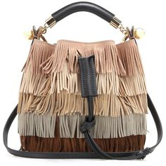 Chloé Gala Small Fringed Suede Shoulder Bag (34 790 UAH) ❤ liked on Polyvore featuring bags, handbags, shoulder bags, purses, multicoloured, chloe handbags, brown suede handbag, suede shoulder bag, suede fringe purse and multi colored handbags
