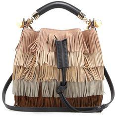 Chloé Gala Small Fringed Suede Shoulder Bag ($1,070) ❤ liked on Polyvore featuring bags, handbags, shoulder bags, purses, bolsas, bolsos, multicoloured, purse shoulder bag, shoulder handbags and man bag
