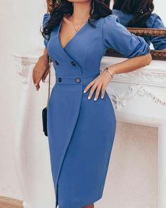 Shop Bodycon Solid Double-Breasted Puff Sleeve Wrap Dress Bodycon – Firm, double-breasted wrap dress made of puffed sleeves Trendy Dresses, Elegant Dresses, Casual Dresses, Short Dresses, Dresses For Work, 50s Dresses, Office Dresses, Wedding Dresses, Sexy Dresses