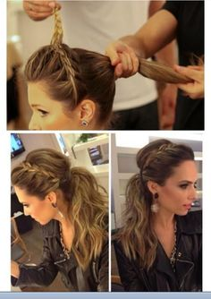 Braided headband ponytail Harrison Salon Spa loves this look, its the perfect look for a night out with the girls!