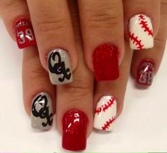 #stanzasalon #nailart #gelish #baseball