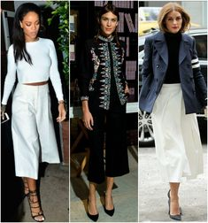 Celebrity Trend: Culottes, Rihanna, Alexa Chung, Olivia Palermo wearing culottes, spring fashion, spring trends