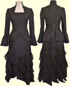 A fascinating Victorian/gothic outfit, though the top is my favorite part. Jade kind of likes it too. Not the skirt. Too...frilly.