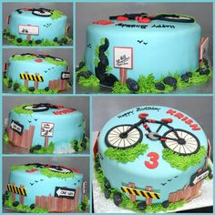 Cycle your way to good health, a themed birthday cake with sugar-crafted  messaging and scenic