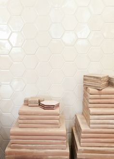tiles from Dahl studio Honeycomb Tile, Hexagon Tiles, Hex Tile, Ceramic Mosaic Tile, Mosaic Bathroom, Style Tile, Color Tile, Beautiful Interiors, Textures Patterns