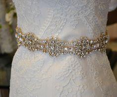 Beaded Bridal Sash Beaded Bridal Belt Gold by CouturesbyLaura, $249.99