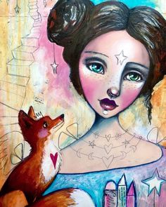 More progress on this one. Wasn't feeling the blue hair so her and the fox got similar hair colour. The facial expression of the fox melts my heart. :) ❤️ #wip #willowing #willowingarts #whimsicalart #workinprogress #mixedmedia #mixedmedia #artistsofinstagram