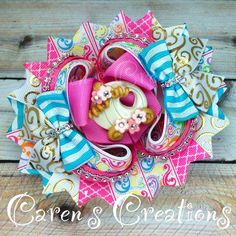 Princess carriage hair bow, stacked bow, boutique bow, princess
