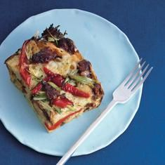 Sausage, Fontina, And Bell Pepper Strata (via foodily.com)