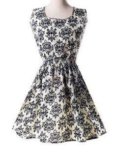 FINEJO Women's Sleeveless O-neck Slim Waist Chiffon Casual Dress