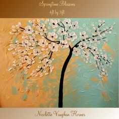 Contemporary impasto   abstract  Floral Trees  painting by Nicolette Vaughan Horner