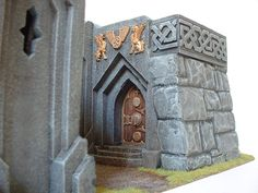 The entrance to the dwarf mine. The door is offset so that a bettering ram cannot be positioned in front of it.
