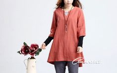 Loose Fitting Tunic Dress Oversize Linen Shirt Dress by Concertino