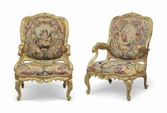 A PAIR OF AUSTRIAN CARVED GILTWOOD AND BEAUVAIS TAPESTRY ARMCHAIRS CIRCA 1753, VIENNESE Each with padded cartouche-shaped back upholstered à chassis, padded arms and serpentine drop-in seat, the moulded frame profusely carved with rocaille and acanthus, the toprail centred by cabochon, with downscrolled arms on supports carved with stylised foliage, the seatrail with pierce foliate motifs and applied roundels, on cabriole legs carved with flowers and foliage, the contemporary Beauvais t...