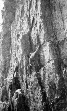 A pair of unknown climbers on Mount Seymour circa 1920. Photo by Major James Skitt Matthews courtesy the Vancouver Archives.