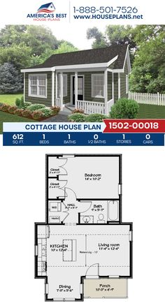 Complete with 612 sq., Plan delivers a Cottage home with 1 bedroom, 1 bathroom, a kitchen island, and an open floor plan. Guest House Plans, Small House Floor Plans, Cottage House Plans, Tiny House Plans, Cottage Homes, One Bedroom House Plans, Small Cottage Plans, Small Cabin Plans, Backyard Cottage