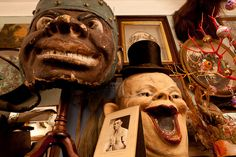 Creepy vintage masks and other assorted oddities from Obscura Antiques and Oddities: The Little Shop of Horrors…
