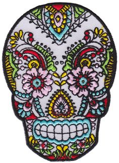 LACE SUGAR SKULL PATCH If you fancy sugar skulls, then you'll certainly love this patch. This sugar skull patch is adorned with brightly colored lace details, and is sure to liven up any accessory you choose to attach it to. $5.00 #patch #sugarskull #lace