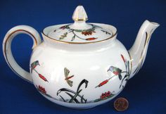 Art Deco River Scene Teapot Birds Insects Water Lilies 1920s Hand Colored Transferware