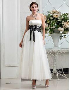 A-line Strapless Tea-length Tulle Satin Wedding Dress (635870) - USD $ 118.49
