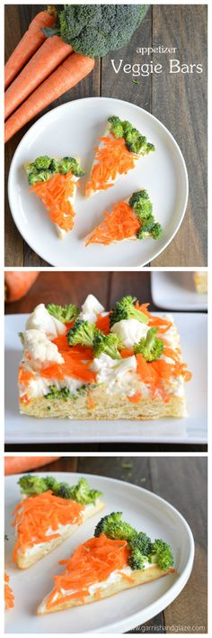 It's the perfect healthy snack for Easter. While the kids are busy munching on Easter eggs and chocolate bunnies, hang back and savor these appetizer veggie bars - made with broccoli, shredded carrots (Vegan Cheesecake Cream Cheese) Easter Snacks, Easter Recipes, Appetizer Recipes, Holiday Recipes, Appetizers, Easter Food, Easter Treats, Easter Dinner, Easter Brunch