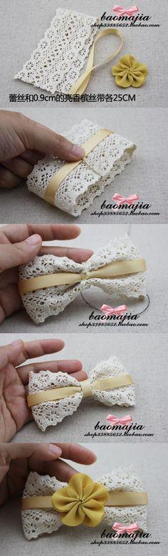 Lace hair clip or package bow. Diy Ribbon, Ribbon Crafts, Ribbon Bows, Ribbons, Diy Headband, Baby Headbands, Knotted Headband, Diy Bebe, Bow Tutorial