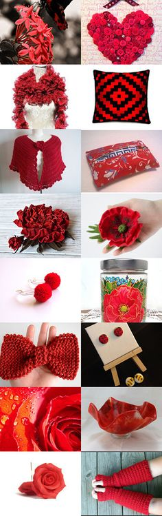 My knitted bow has been included in this bright treasury! I'm Seeing Red... by Danae P on Etsy--Pinned with TreasuryPin.com