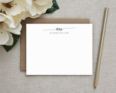 Personalized Navy Blue /& Gray Monogram Note Cards Any Color!