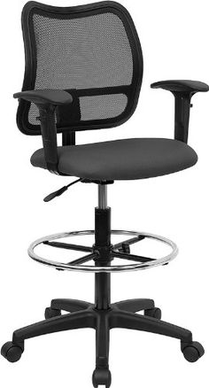 Flash Furniture WL-A277-GY-AD-GG Mid-Back Mesh Drafting Stool with Gray Fabric Seat/Arms - http://yapiver.com/chair/flash-furniture-wl-a277-gy-ad-gg-mid-back-mesh-drafting-stool-with-gray-fabric-seatarms/