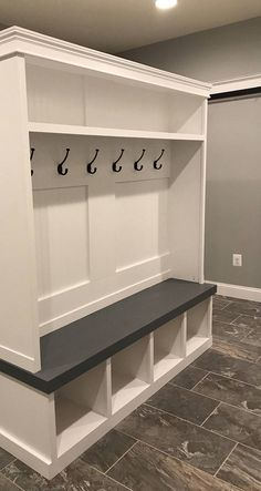 Entryway locker perfect for any Mudroom 78 depth this beauty is painted in Benjamin Moore and the seat Red oak is stained weathered gr… – Mudroom Entryway Lockers, Mudroom, Home, Shed Storage, Diy Storage Shed Plans, Entryway, Storage, Entry Way Lockers, Mud Room Storage