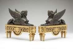 $45000 RARE 19TH C PAIR MUSEUM QTY FRENCH GILT PATINATE BRONZE CHENETS ANDIRONS