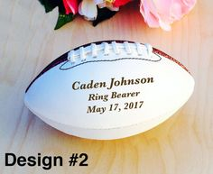 Ring Bearer Gifts Engraved Football Mini Football by crimsonking
