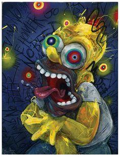 Homer Simpson Art The Simpsons Giclee Canvas by BlackInkArtz