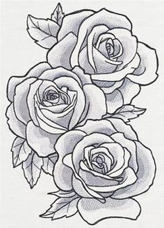 Grand Sewing Embroidery Designs At Home Ideas. Beauteous Finished Sewing Embroidery Designs At Home Ideas. Rose Outline Drawing, Rose Outline Tattoo, Rose Drawing Tattoo, Tattoo Shading, Outline Drawings, Tattoo Drawings, Drawing Flowers, Rose Drawings, Sketches Of Flowers