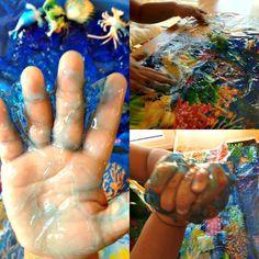 Playful Learners: Small World: Hair gel under the sea Early Years Topics, Tuff Spot, World Hair, Tuff Tray, Small World Play, Animal Habitats, Hair Gel, Eyfs, Deep Sea
