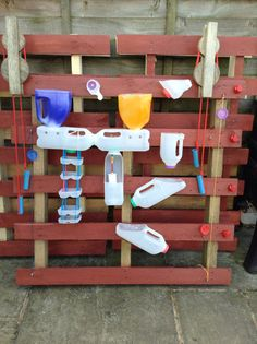 Kids Water Wall Fun; made from milk bottles, lids, string, rope and a couple of found pullies! - recycled, Upcycled!