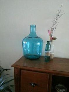 ≥ Grote glazen fles/vaas turquoise - Woonaccessoires | Vazen - Marktplaats.nl