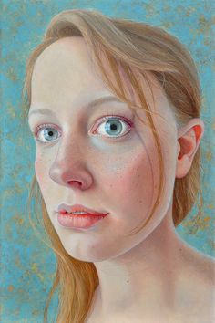 """Merle"" - Jantina Peperkamp {contemporary figurative art blonde female head woman face portrait cropped painting} Dilated!! jantina-peperkamp.nl"