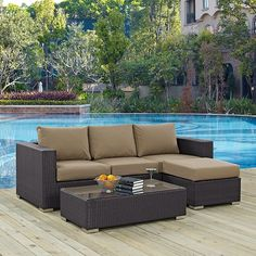 Modway Convene 3 Piece Outdoor Patio Sofa Set in Espresso Mocha Modern Furniture, Outdoor Furniture Sets, Outdoor Decor, 3 Piece Sofa, Coffee Table Dimensions, Star Wars, Backyard, Patio, Cushion Fabric