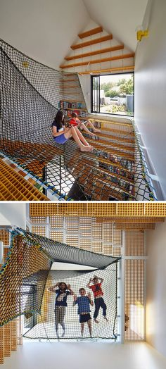 This book room features a large system of suspended nets that create the perfect spot to curl up with a book, a game, or spy on the people down below.