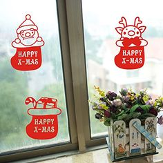 FunnyCraft Xmas Window Stickers Home Decor Merry Christmas Elk Santa Claus Decoration Decal Red * Check out this great product.