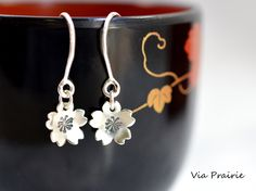 Sakura dangles, Sakura earrings, Cherry blossom dangles , Her gift, Japanese jewelry, Cherry Blossoms, Sterling silver, 925 silver earrings by ViaPrairie on Etsy https://www.etsy.com/listing/255239148/sakura-dangles-sakura-earrings-cherry