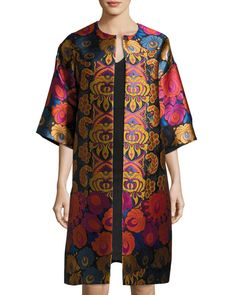 Floral Brocade Car Coat, Black I would venture into colors with this car coat. Silk Coat, Stylish Coat, Long Vests, Vintage Coat, Coats For Women, Fashion Dresses, How To Wear, Fashion Design, Clothes