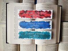 A Court of Thorns and Roses Series Thin Watercolour Bookmarks by behindthepages on Etsy https://www.etsy.com/listing/288233585/a-court-of-thorns-and-roses-series-thin
