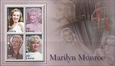 A sheet of 4 stamps issued by Liberia in 2006 remembering Marilyn.
