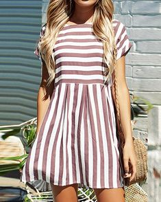 Short Striped Casual Beach Dress Material: Cotton,Spandex Season: Summer Style: Casual Decoration: None Silhouette: Loose Sleeve Length(cm): Full Pattern Type: Striped Sleeve Style: Regular Waistline: [. Women's Dresses, Cute Dresses, Short Sleeve Dresses, Awesome Dresses, Wedding Dresses, Summer Dresses With Sleeves, Church Dresses, Tight Dresses, Dresses Online